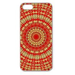Gold And Red Mandala Apple Seamless Iphone 5 Case (clear)