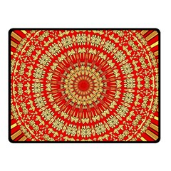 Gold And Red Mandala Double Sided Fleece Blanket (small)