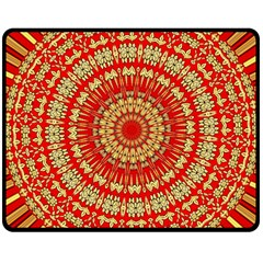 Gold And Red Mandala Double Sided Fleece Blanket (medium)