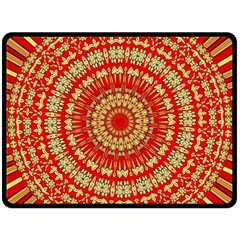 Gold And Red Mandala Double Sided Fleece Blanket (large)