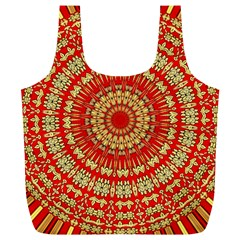 Gold And Red Mandala Full Print Recycle Bags (l)