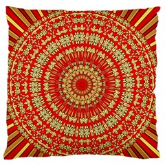 Gold And Red Mandala Large Flano Cushion Case (one Side)