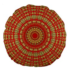 Gold And Red Mandala Large 18  Premium Flano Round Cushions
