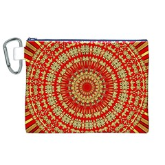 Gold And Red Mandala Canvas Cosmetic Bag (xl)