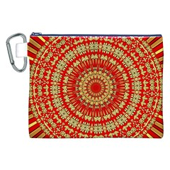 Gold And Red Mandala Canvas Cosmetic Bag (xxl)