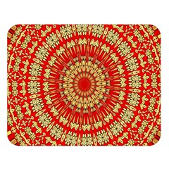 Gold And Red Mandala Double Sided Flano Blanket (large)