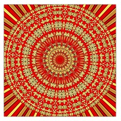 Gold And Red Mandala Large Satin Scarf (square)