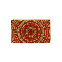 Gold And Red Mandala Cosmetic Bag (xs)