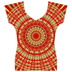 Gold And Red Mandala Women s V-Neck Cap Sleeve Top
