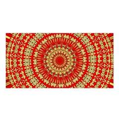 Gold And Red Mandala Satin Shawl