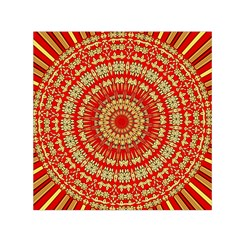Gold And Red Mandala Small Satin Scarf (square)