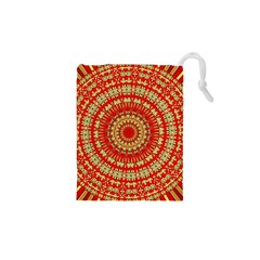 Gold And Red Mandala Drawstring Pouches (XS)