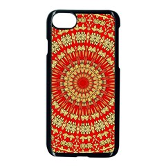 Gold And Red Mandala Apple Iphone 7 Seamless Case (black)