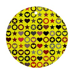 Heart Circle Star Seamless Pattern Ornament (round)