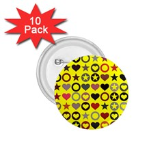 Heart Circle Star Seamless Pattern 1.75  Buttons (10 pack)