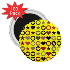 Heart Circle Star Seamless Pattern 2 25  Magnets (100 Pack)