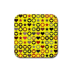 Heart Circle Star Seamless Pattern Rubber Square Coaster (4 pack)