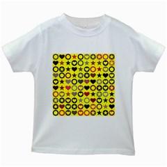 Heart Circle Star Seamless Pattern Kids White T Shirts