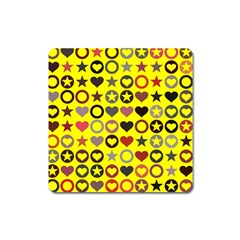 Heart Circle Star Seamless Pattern Square Magnet