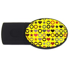 Heart Circle Star Seamless Pattern Usb Flash Drive Oval (2 Gb)