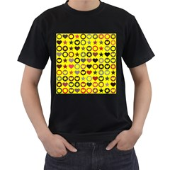 Heart Circle Star Seamless Pattern Men s T Shirt (black) (two Sided)