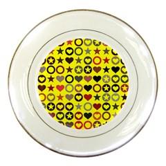 Heart Circle Star Seamless Pattern Porcelain Plates