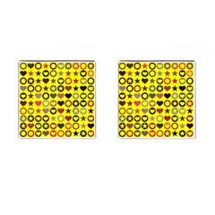 Heart Circle Star Seamless Pattern Cufflinks (square)