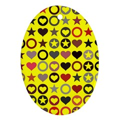 Heart Circle Star Seamless Pattern Oval Ornament (two Sides)