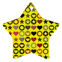 Heart Circle Star Seamless Pattern Star Ornament (Two Sides)