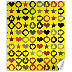 Heart Circle Star Seamless Pattern Canvas 8  X 10