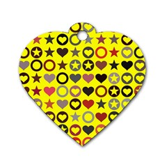 Heart Circle Star Seamless Pattern Dog Tag Heart (one Side)