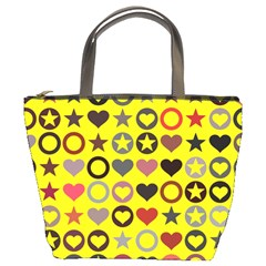 Heart Circle Star Seamless Pattern Bucket Bags