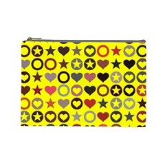 Heart Circle Star Seamless Pattern Cosmetic Bag (large)