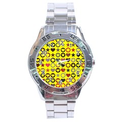 Heart Circle Star Seamless Pattern Stainless Steel Analogue Watch