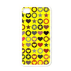 Heart Circle Star Seamless Pattern Apple Iphone 4 Case (white)