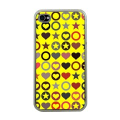 Heart Circle Star Seamless Pattern Apple Iphone 4 Case (clear)