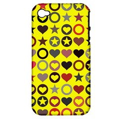 Heart Circle Star Seamless Pattern Apple Iphone 4/4s Hardshell Case (pc+silicone)