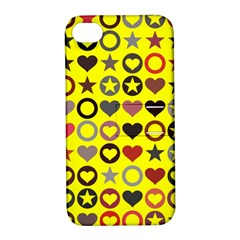 Heart Circle Star Seamless Pattern Apple Iphone 4/4s Hardshell Case With Stand