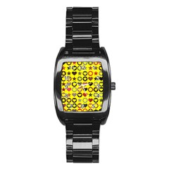 Heart Circle Star Seamless Pattern Stainless Steel Barrel Watch