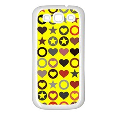 Heart Circle Star Seamless Pattern Samsung Galaxy S3 Back Case (white)