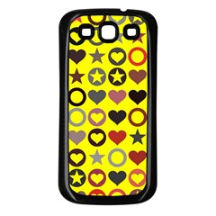 Heart Circle Star Seamless Pattern Samsung Galaxy S3 Back Case (black)