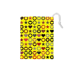 Heart Circle Star Seamless Pattern Drawstring Pouches (small)