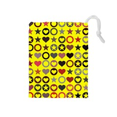 Heart Circle Star Seamless Pattern Drawstring Pouches (medium)