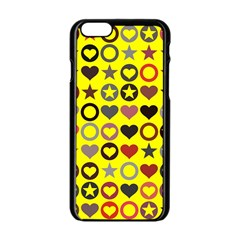 Heart Circle Star Seamless Pattern Apple Iphone 6/6s Black Enamel Case