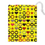 Heart Circle Star Seamless Pattern Drawstring Pouches (XXL) Front