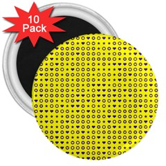 Heart Circle Star Seamless Pattern 3  Magnets (10 pack)