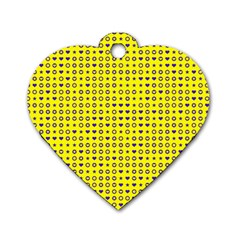 Heart Circle Star Seamless Pattern Dog Tag Heart (two Sides)