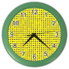 Heart Circle Star Seamless Pattern Color Wall Clocks