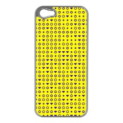 Heart Circle Star Seamless Pattern Apple Iphone 5 Case (silver)