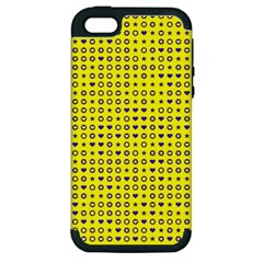 Heart Circle Star Seamless Pattern Apple Iphone 5 Hardshell Case (pc+silicone)
